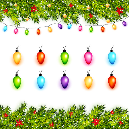 Vector christmas background with pine branches and colorful lights on white