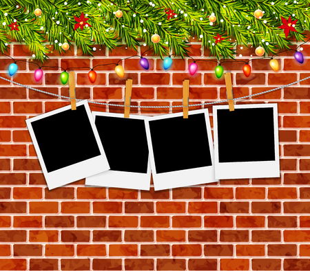 Greeting card with christmas tree branches, garlands and brick wall vector