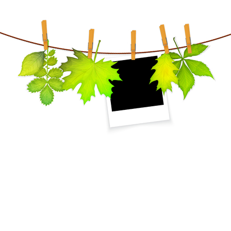 frame on rope with clothespins and green leaves
