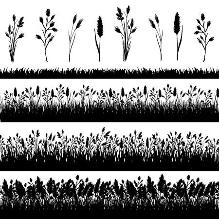 grass border: Grass border silhouette set on white background vector Illustration