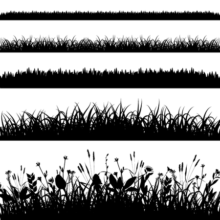 Silhouette set of grass borders vector