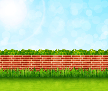 Garden background with brick wall and green grass vector Illustration