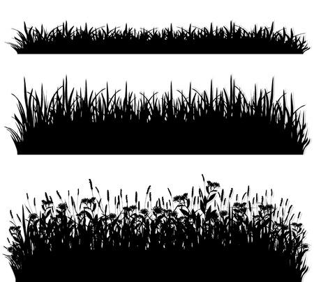 Grass borders silhouette set vector