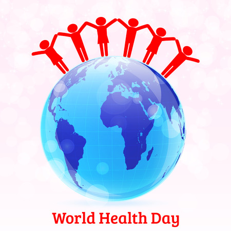 World Health Day vector background with globe and people
