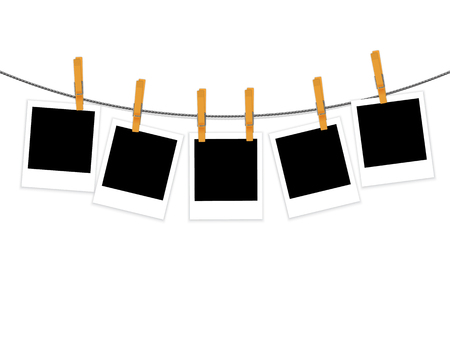 Photo frames on rope with clothespins isolated on white background vector Stock Illustratie