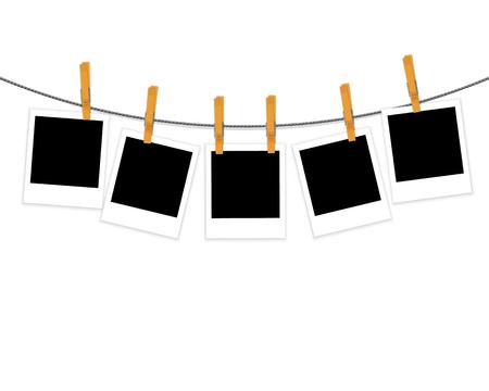 Fotokaders op kabel met wasknijpers op witte vector worden geïsoleerd die als achtergrond Stock Illustratie