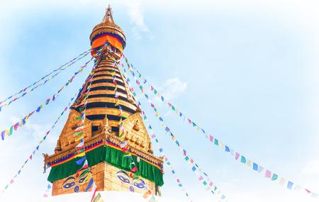 Stupa in the Swayambhunath Monkey temple, Kathmandu, Nepal