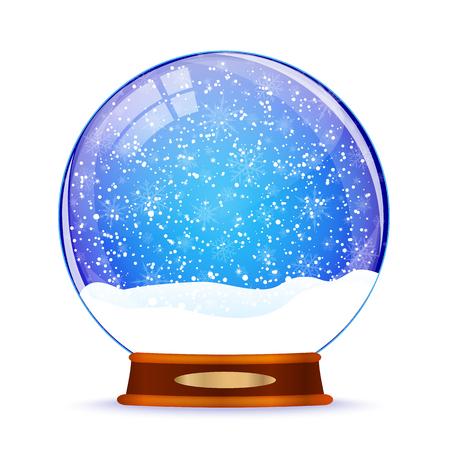 Snow globe isolated on white illustration.