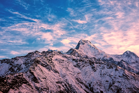 Sunrise in Himalayas mountains, Nepal Stock Photo