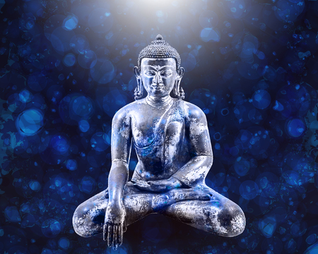 Sitting Buddha over blue background. Vector illustration. The symbol of Hinduism, Buddhism, spirituality and enlightenment