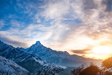 Himalaya mountains at sunrise, Nepal  Stock Photo