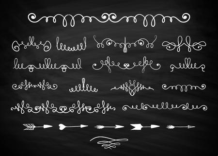 Hand drawn decorative curls and swirls on blackboard vector