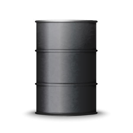 Black metal barrel isolated on white background vector