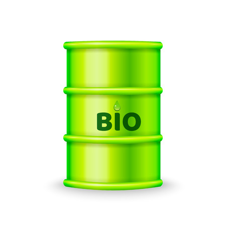 Green metal barrel with bio fuel vector Illustration