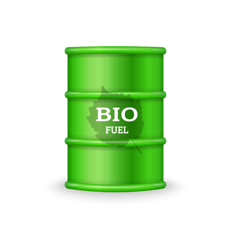 Green metal barrel with bio fuel on white background vector