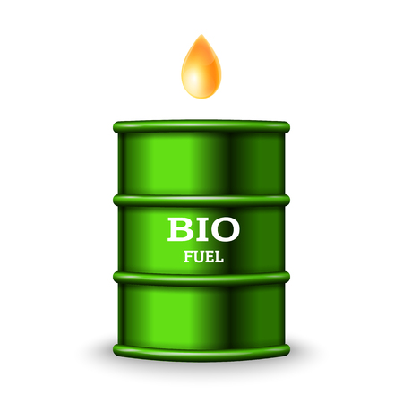 Green metal barrel with bio fuel and drop oil on white background vector