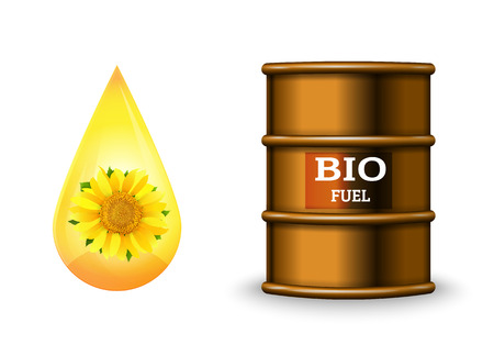 Metal barrel with bio fuel and drop oil on white background vector