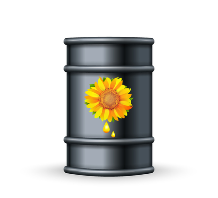 Metal barrel with bio fuel on white background vector. Biofuel plants concept Illustration