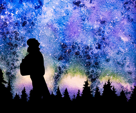 Person with backpack watching the stars in night sky above the pine forest vector background