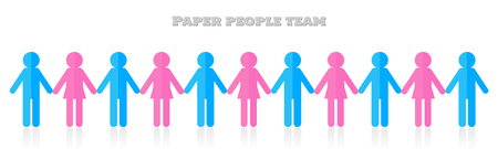 Group of people holding hands. Teamwork concept papercraft. Vector background