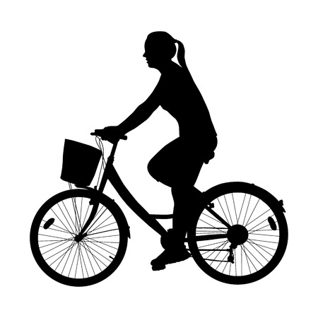 Cyclist woman silhouette isolated on white background vector