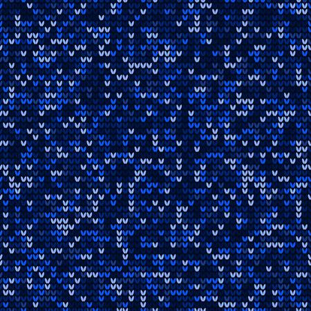 Blue knitting seamless pattern background vector Векторная Иллюстрация