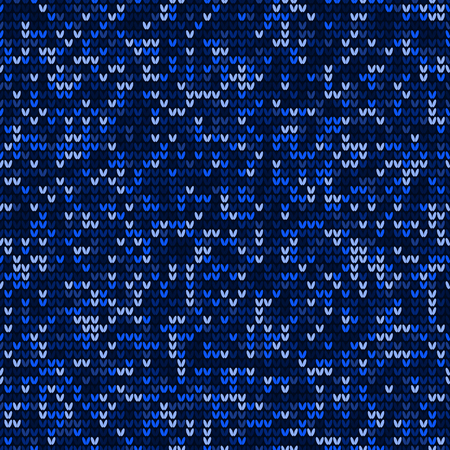 Blue knitting seamless pattern background vector