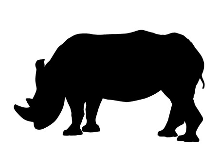 Rhinoceros silhouette isolated on white background vector