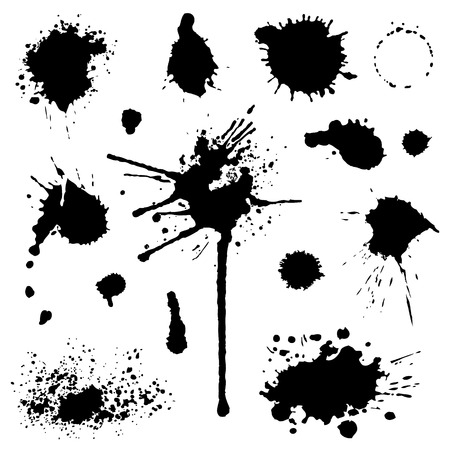 Set of blots and stains isolated on white background vector Vetores