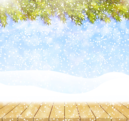 Merry christmas and happy new year greeting background with wood table top. Winter landscape with snow and christmas trees Illustration