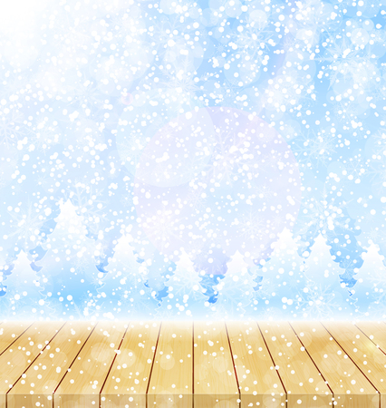 Merry christmas and happy new year greeting background with wood table top. Winter landscape with snow and christmas trees Ilustracja