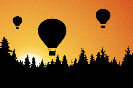 Vector illustration of landscape with forest, flying hot air balloons and orange sky with rising sun