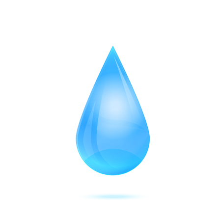 Drop of water isolated on white background. Vector illustration.