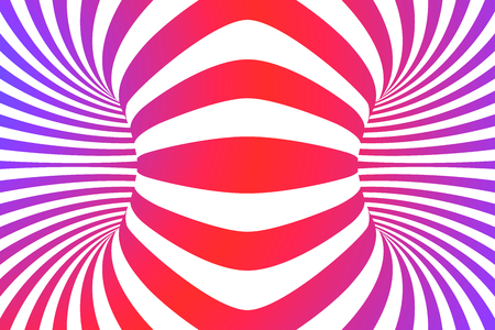 Colorful lines optical illusion. Abstract striped spiral vector background