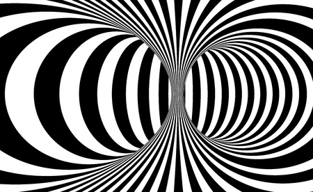 Black and white lines optical illusion. Abstract striped spiral vector background