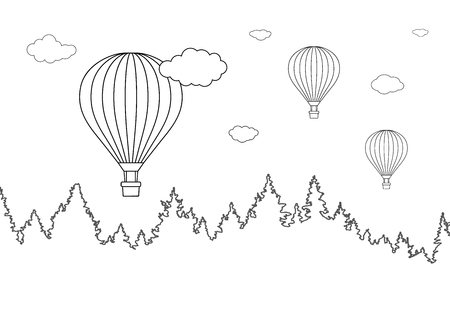 Vector illustration of landscape with forest and flying hot air balloons for coloring page