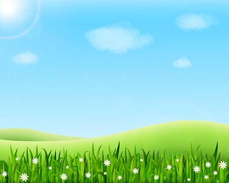 Summer meadow landscape with green grass, flowers, hills and sun. Vector illustration