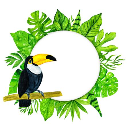Watercolor tropical leaves frame and toucan on white background