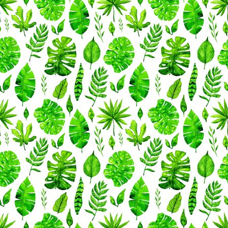 Watercolor tropical leaves seamless pattern background