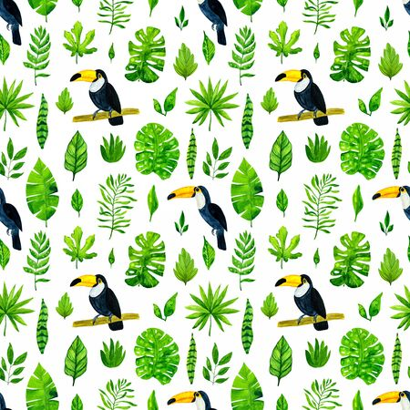 Watercolor tropical leaves and toucans. Seamless pattern background