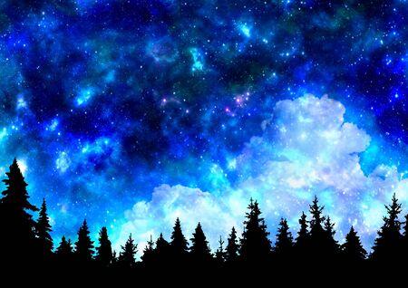 Ciel nocturne avec fond nature étoiles et arbres