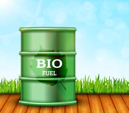 Metal barrel with bio fuel. Vector illustration
