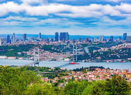 View of Istanbul with the Bosphorus bridge between Asia and Europe, Turkey