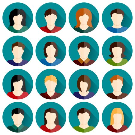 People icons set vector background