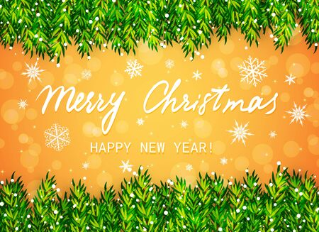 Merry Christmas and Happy New Year greeting card. Christmas tree branches border with snow and text