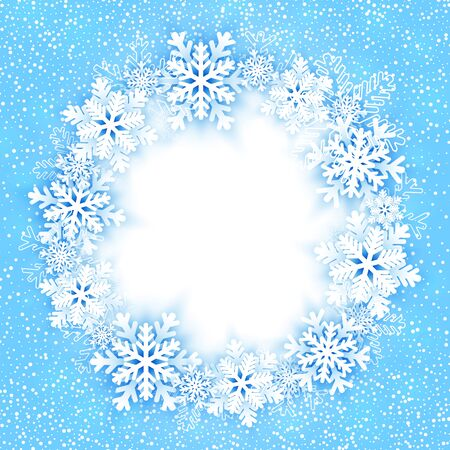 Christmas round frame with snowflakes. Vector illustration