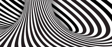 Fondo abstracto de rayas onduladas en blanco y negro. Ilustración vectorial Ilustración de vector