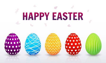 Greeting card with colorful Easter eggs. Vector illustration