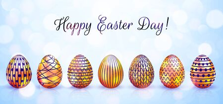 Happy Easter greeting card with golden eggs and bokeh. Vector illustration