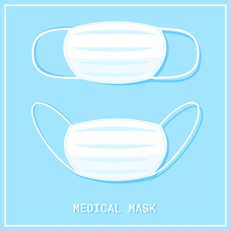 Medical shielding bandage on blue background. Surgical mask to cover the mouth and nose. Protection concept. Vector illustration